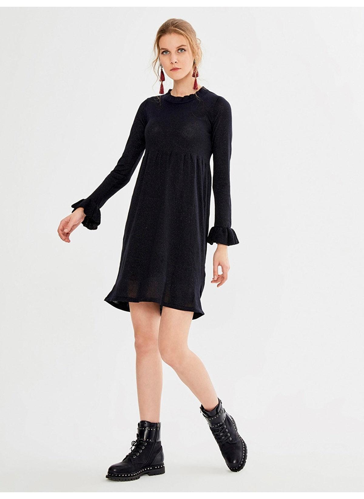 ef255fbf3175a Xint Kadın Dik Yaka Fransız Kol Mini Elbise Siyah. İndirimli Fiyat ...